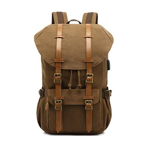 FANDARE Vintage Zaino Hiking Zainetto con USB Sacchetto Tela porta 15,6 pollici PC Borsa da scuola Uomo Donna Borsetta Zaino Lavoro Borsa da viaggio Campeggio Escursionismo Canvas Daypacks Marrone a