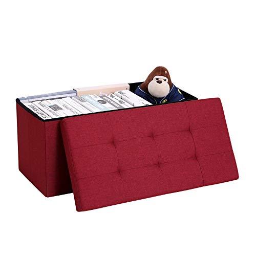 SONGMICS Sitzbank mit Stauraum, Truhe mit Deckel, faltbares Sitzmöbel, Bett, Schlafzimmer, Flur, platzsparend, 80L Fassungsvermögen, stabil bis 300 kg, gepolstert, rot LSF47RD - 8