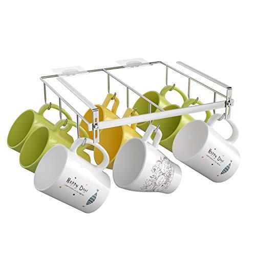 Adjustable Mug Rack Under Cabinet Mug Hanger, Coffee Mug Holder with Extra Large Hook Distance for Hanging Tea Cups and Coffie Mugs