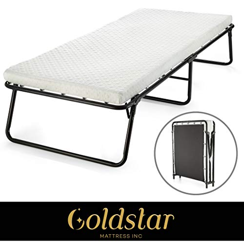 Rollaway Guest Folding Bed Cot - with Foam Mattress Compact, Portable & Lightweight Folding Bed Frame with Thick Foam Mattress for Spare Bedroom & Office (31 inch Foam Mattress)