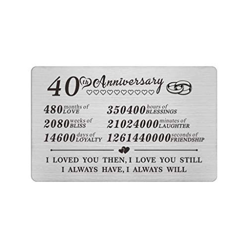 40th Anniversary Wallet Insert Anniversary Gifts For Gay And Lesbian Couples for Years 40 to 49