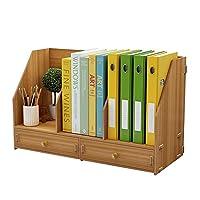 ブックラック書棚ファイルシェルフ、シンプルなテーブル木製ブックシェルフ情報シェルフデスクトップクリエイティブオフィス多層ストレージラック文学オーガナイザーディスプレイラック
