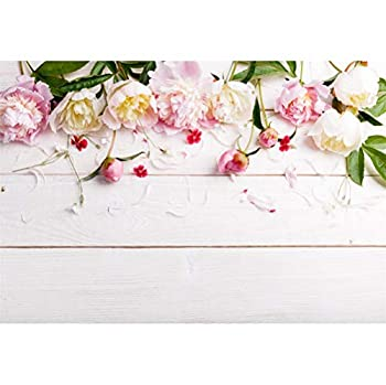 Laeacco 7x5ft Beautiful Peonies Flowers Petals Rustic Plain White Wood Plank Backdrops Valentine s Day Background Child Adults Girls Lovers Couple Portraits Shoot Wedding Photo Studio Greeting Card