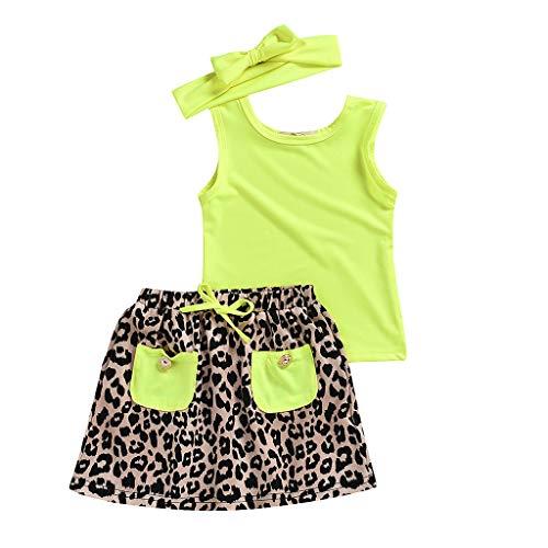 0-5 años de edad, conjunto de trajes para niñas pequeñas, chaleco sólido tops tops leopardo faldas trajes...