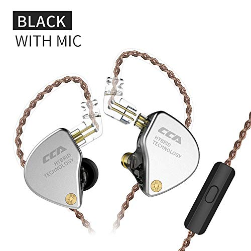 CCA CA4 IEM Earphones 1BA+1DD in-Ear Monitor Noise-Isolating Earbuds Headphone Comfort HiFi Sound Stereo Bass DJ Monitor with Removable 2pins 0.75mm Connector & 3.5mm Plug Cable(Black with mic)