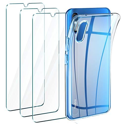 Leathlux Funda Xiaomi Redmi 9A / Funda Xiaomi Redmi 9AT, 3 Pack Protector de Pantalla, Transparente TPU Silicona Funda Y Cristal Vidrio Templado y Carcasa Xiaomi Redmi 9A / Xiaomi Redmi 9AT