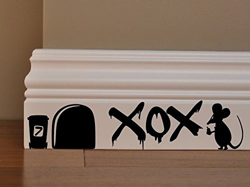 MOUSE GRAFFITI Knuffels & Kussen XOX Minie Hole Home Live Kids grappige muur kunst stickers Baseboard Kids Muizen Skirting Board