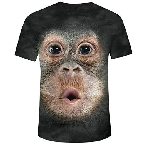 cinnamou AFFE Tshirt Herren 3D Druck Rundhals Kurzarm T Shirt Lustige Geschenke für Männer Lässig Lustig T-Shirts Sommer Top