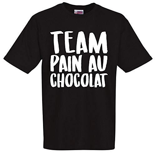 stylx design T-Shirt Noir Humoristique Team Pain au Chocolat Cadeau de noël, Cadeau Saint Valentin, Cadeau fête des pères