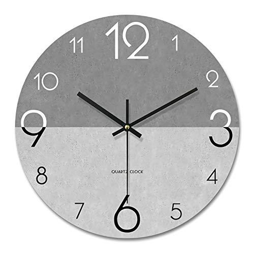 PFLife Wandnuhr mit Geräuscharmes,12 Zoll 30cm modern,lautlos, großes Ziffernblatt, schleichendem Sekundenzeiger, hübsches Wohnaccessoire (Grau)