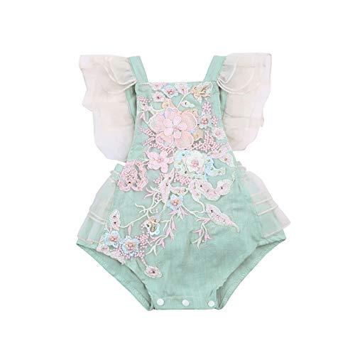 Mameluco de encaje para recién nacido, sin mangas, cuello cuadrado, bordado de manga de mariposa de una sola pieza