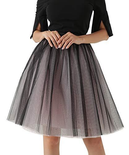 Happy Cherry - Vestido para Mujeres Medio Falda Corta de Gasa Falda Sexy de Capas con Cintura Elástica para Chicas para Boda Reunión de Talla Grande