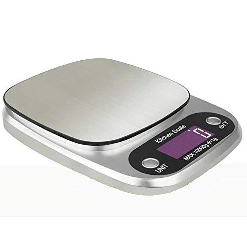 HAOSHUAI 10kg / 1g LCD Retroiluminación Digital Cocina Escala de Acero Inoxidable Balanzas Electrónicas Cocina Balance de Alimentos Peso de medición, Plata (Color : Silver)