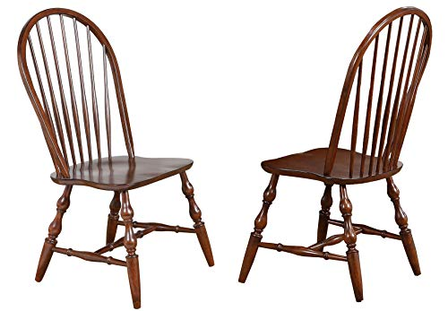 Sunset Trading Andrews Windsor Spindleback Dining Chair, Set of 2, Chestnut