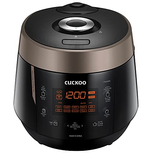 Cuckoo CRP-P0609S 6 cup Electric Heating Pressure Rice Cooker & Warmer – 12 built-in programs including Glutinous (white), Mixed, Brown, GABA and more, 10.10 x 11.60 x 14.20, Black