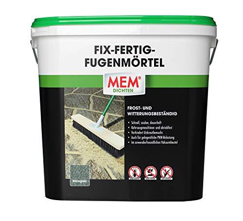 MEM 30822627 Verfugen von Naturstein-Pflaster u. -platten, Klinker, Terrassen u. Wegen - keine Ameisen, Pfützen u. Frost - abriebfest Fix-Fertig-Fugenmörtel, steingrau, 12,5 kg