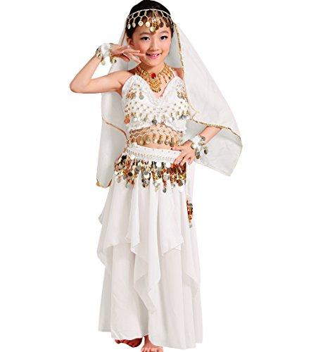 Astage Mädchen Kleid Kinder Bauchtanz Halloween Karneval Kostüm-Sätze Weiß L