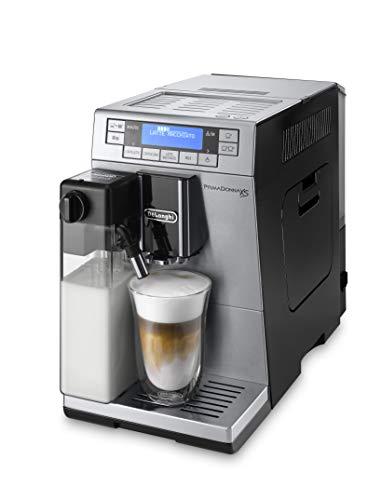 De\'Longhi PrimaDonna XS Deluxe ETAM 36.365.MB - Cafetera Superautomática, 1450 W, 15 Bar Presión, Muy Estrecha 19.5 Cm, Pantalla Digital, Personalización Cafés, Plateada