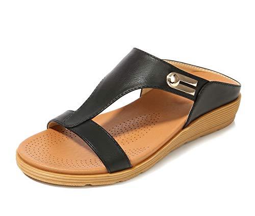 APTRO Damen Pantoletten Flache Sommer Sandalen Outdoor 521 Schwarz 37 EU (Tag:38)