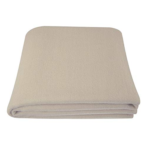 EKTOS 100% Virgin Wool Blanket, Natural White, Warm & Heavy 5.0 lbs, Large Washable 66'x90' Size, Perfect for Outdoor Camping, Survival & Emergency Preparedness Use