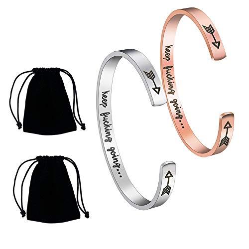 QincLing 2 Pack Inspirational Bracelet Stainless Steel Alphabet Keep Going Cuff Bracelet Motivational Encouragement Open Bangle Bracelet For Women Men Girls Boys (Rose Gold Silver)