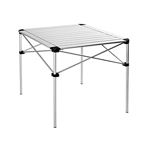 LARRY SHELL Folding Aluminium Table Roll-Top Lightweight Portable Stable Compact and Easy Transport, pour Camping Outdoor Picnic Vacation, 70 à 70 x 69 cm