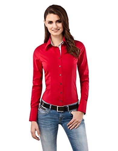 Vincenzo Boretti Camisa de Mujer Muy Elegante, Ligeramente más angosta (Modern-fit), 100% algodón, Manga-Larga, Cuello Kent, con entredós en Contraste, Lisa, no Necesita Plancha Rojo 38