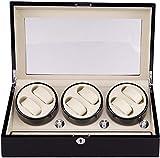 Lloow Reloj Winder 6 Relojes, Wood Battery Watch Winder 6 + 7 Box Motor Automatic WatchBox Reloj Cajas Reloj Reloj de Almacenamiento Reloj de Reloj Puntuación Reloj Negro