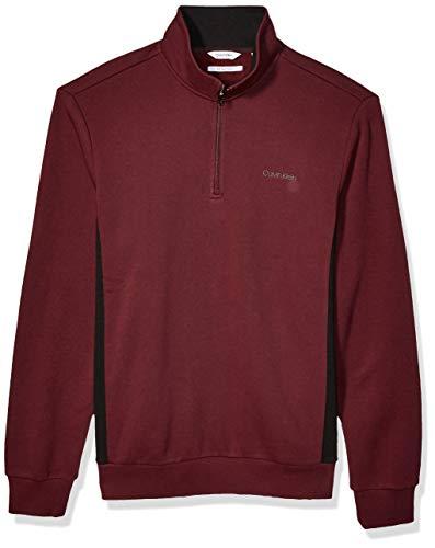 Calvin Klein Men's Classic Quarter Zip Sweater, RASPBERRY CHOC, Large