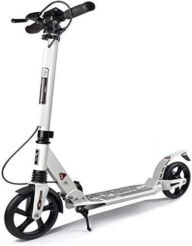 XLYYHZ Scooters Plegables, Adultos Scooters de Aluminio Ligero, Ajustable a la Altura del Freno, f u r Adultos y Adolescentes, White