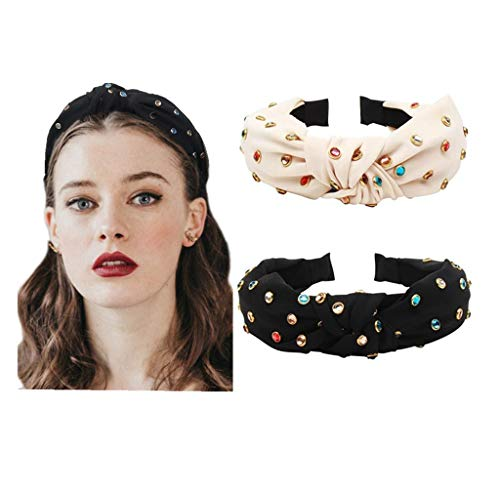 Knot Headbands for Women Knotted Pearl Colorful Rhinestone Jeweled 2 Pcs Beaded Wide Band Fashion Headbands For Girl Bohemian Hairband