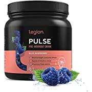 Legion Pulse Pre Workout Supplement - All Natural Nitric Oxide Preworkout Drink to Boost Energy & Endurance. Creatine Free, Naturally Sweetened & Flavored, Safe & Healthy. 21 Servings. (Blue Raspberry)