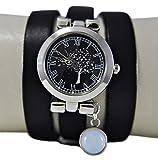 Bezaubernde Damen-Armbanduhr mit Schmetterlingsbaum - Schwarz - Uhr - Silber - Edelstein - Opal - Geschenk für Sie - Schmuck-Geschenk - Handmade Geschenk - Personalisiert