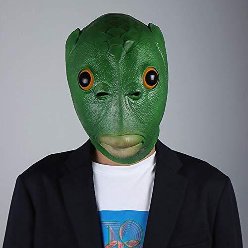 Spray Máscara de cabeza de pez verde con forma de cabeza de pez para adultos, cubierta de látex, accesorio para disfraz de Halloween