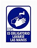 Pegatina Es obligatorio lavarse las manos, Prevención COVID-19, diseñado para empresas, como medida de protección contra el Coronavirus - Cartel prevención (Azul Oscuro)