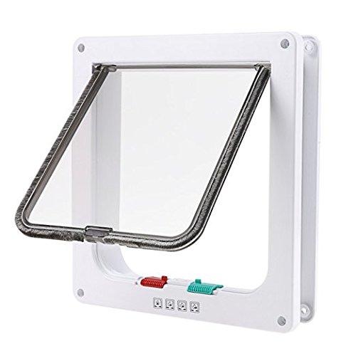 OIZEN Puerta Magnetica(23x25x5.5cm), 4-Modo Puerta Bloqueable de Aleta para Gato Perrito Mascota Seguridad
