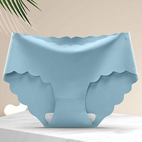 Yumanluo Bragas para Mujer,Ropa Interior de Mujer Transpirable de Seda de Hielo, sin Rastro de Viaje de Cintura Media-Azul * 3_L (50-60kg),Sin Costuras Micro Braguita para Mujer