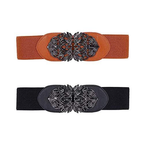 2 Piezas Cinturón Estilo Vintage con Hebilla Flor, Cinturón de Estilo Retro, Negro Cinturón Elástico Ancho Retro, para Chaquetas, Abrigos, Vestidos, Tops Sueltos, Etc
