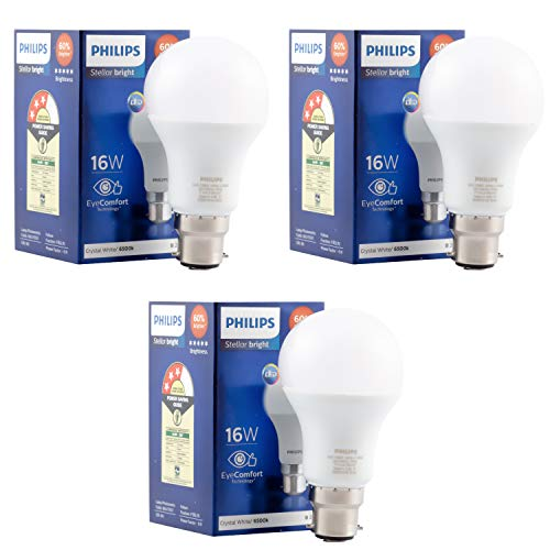 Philips StellarBright Base B22 16-Watt LED Blub (Pack of 3, Cool Day Light)