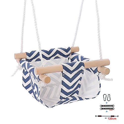 Best Prices! LYXCM Baby Swing Seat, Wooden Canvas Portable Seat is Easy to Carry Suitable for Indoor...