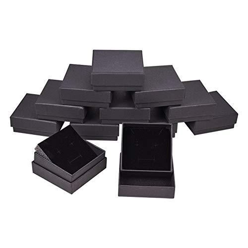 BENECREAT 12er Pack Black Matte Kraft Karton Schmuck Schmuckschatullen für Armbänder Ringe Ohrringe Halskette, Samt gefüllt Karton Schmuckverpackungen Geschenkboxen (7,3x7,3x3cm)