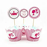 XiaoOu 24 unids/Lote Estuches para Cupcakes, Banderas para Pastel, Cupcakes, Muffin, Envoltura de Papel, para Suministros de Fiesta de cumpleaños, Mini Estuches para Cupcakes, Princesa
