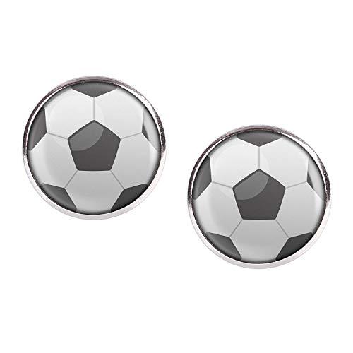 Orecchini coppia con motivo Calcio Calcio in bianco e nero di calcio di calcio argento 16mm