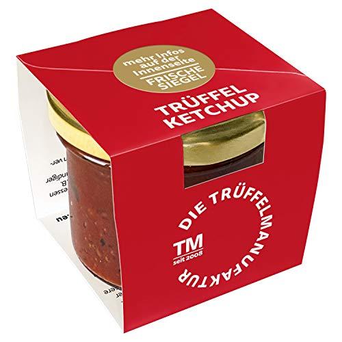Die Trüffelmanufaktur - Trüffel Ketchup mit 7% echtem schwarzen Trüffeln, Deluxe Tomaten Trüffelketchup für leckere, knackige Pommes oder saftige Steaks, Spareribs, Rippchen, Bratwurst, Glas á 110 g