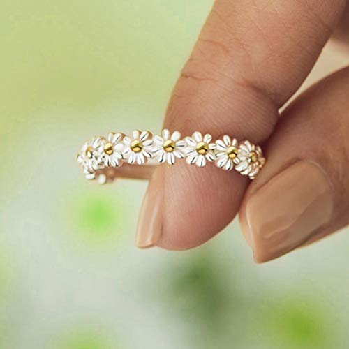 YINLANG Ring, süßes süßes Gänseblümchen-Blumenring verstellbares offenes Fingerringgeschenk für Frauen