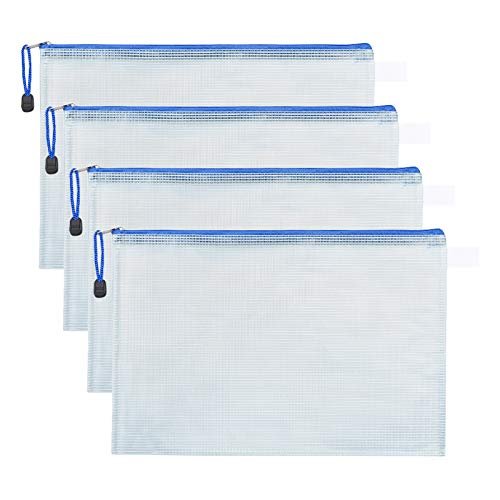 MJIYA Mesh Zipper Pouch Document Bag Plastic Zip File Folders Weatherproof Large Stylish Multipurpose Organizer Folder for School and Office Supplies Business Papers (White, A4)