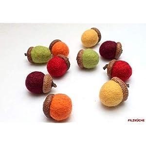 10 Filzeicheln Herbstzauber Set Herbstdeko gefilzt