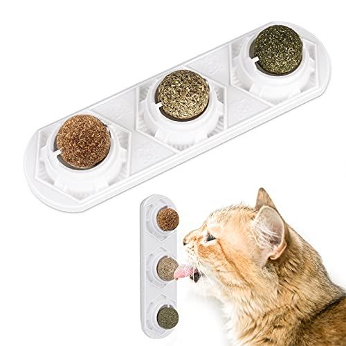Peteast Katzenminze Ball Katzenspielzeug 3 in 1,100% natürlicher Essbare Katzenminze Bälle für Katzen, Katze Spielzeuge Set, Drehbare Katze Süßigkeiten, Zahnreinigung, schützt Bauch, sicher und gesund