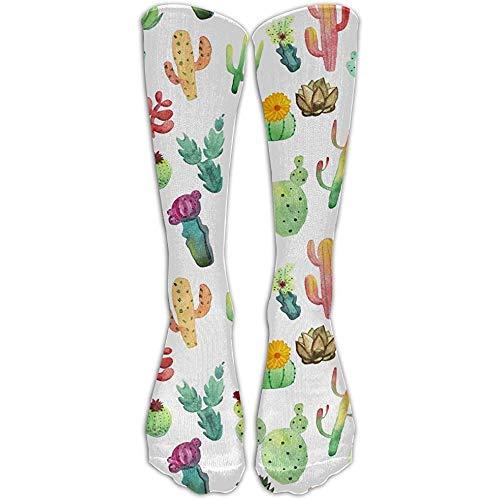 NA Kleurrijke levendige cactus succulenten sportieve buis kousen vrouwen mannen klassieker kniehoge sokken sport lange sokken eenheidsmaat