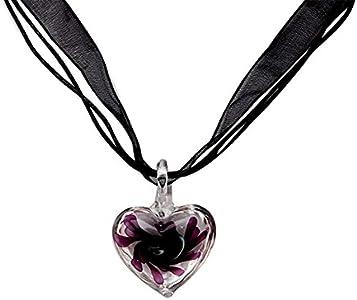 Jingmeizi - Collar con colgante de cristal de Murano, diseño de corazón, color morado